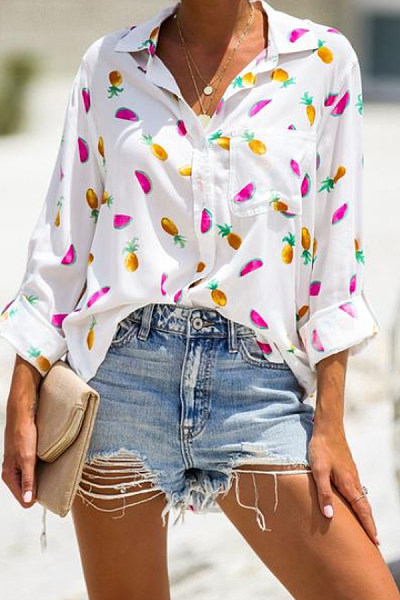 Turn Down Collar  Patch Pocket Single Breasted  Print Blouses