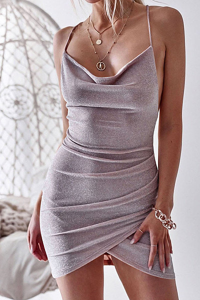 Sexy Lace-Up Bag Hip Dress