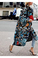 Fold Over Collar  Print Outerwear