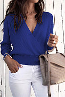 V Neck Long Sleeve Plain Sweater