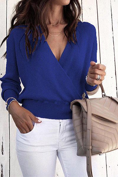 V Neck Long Sleeve Plain Sweater
