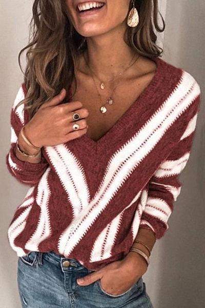 Women's Casual Deep V-Neck Long Sleeve Long Sleeve Loose Sweater