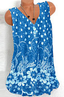 Plus Size V Neck Sleeveless  Printed Top