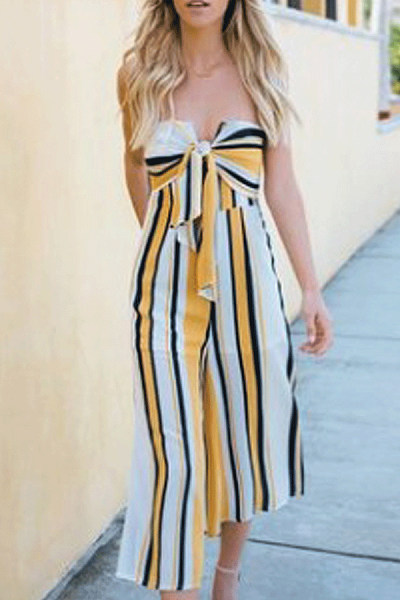 Strapless  Bow  Striped  Sleeveless Jumpsuits