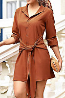 Turn Down Collar  Lace Up  Plain  Long Sleeve Casual Dresses