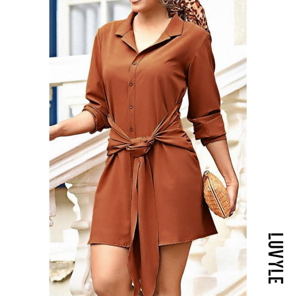 Same As Photo Turn Down Collar Lace Up Plain Long Sleeve Casual Dresses Same As Photo Turn Down Collar Lace Up Plain Long Sleeve Casual Dresses