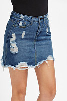 Solid Color Denim Skirt