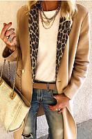Fashion Leopard Stitching Long Sleeve Coat