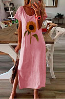 Sunflower printed casual dress