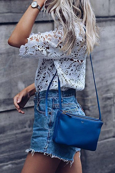 Round Neck Lace Casual Blouses