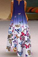 V Neck Floral Printed Maxi Dress