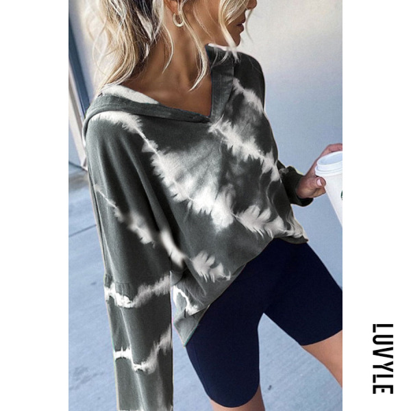 Gray Women Autumn Tie-dye Casual Hoodie Gray Women Autumn Tie-dye Casual Hoodie