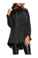 Round Neck Zips High-Low Scarf Woolen Coat