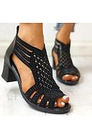 Women's  fashion rhinestone cutout block heel sandals