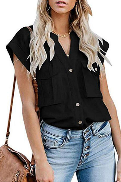 Button Down Collar  Flap Pocket  Plain Blouses