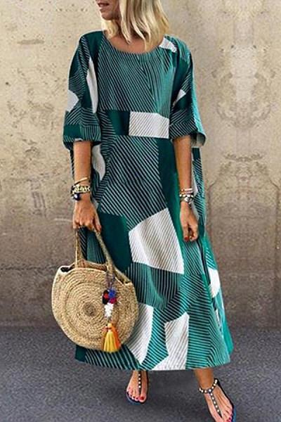round neck retro geometric printing loose casual dress