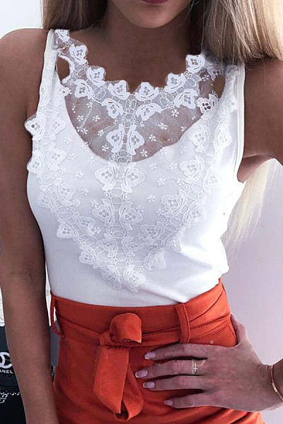 Round Neck Lace Patchwork Sleeveless T-Shirts