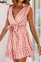 Fashion Striped Backless Strap   Mini Dress