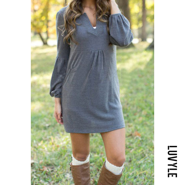 Gray V Neck Plain Shift Casual Dress Gray V Neck Plain Shift Casual Dress