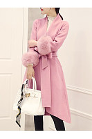 Lapel Belt Plain High-Low Swing Wrap Woolen Coat