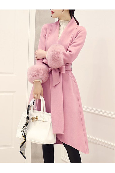 Lapel Belt Plain High-Low Swing Wrap Woolen Coat
