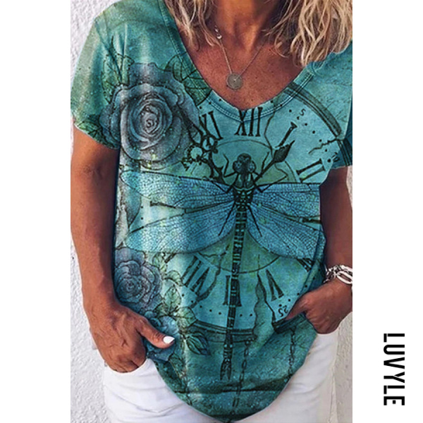 Casual Dragonfly Clock Animal Print T-shirt