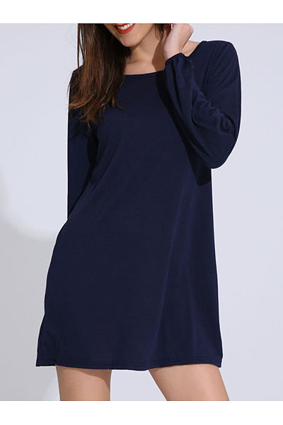 Solid Round Neck Mini Shift Dress