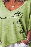 V Neck  Animal Prints T-Shirts