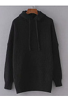 Hooded  Drawstring  Plain Sweaters