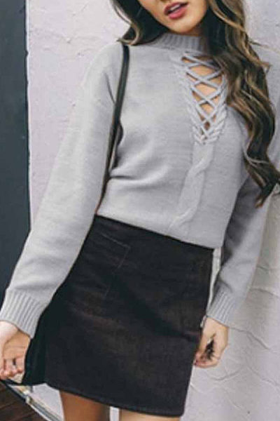 Sexy Round Neck Lace Long Sleeve Plain Casual Sweater