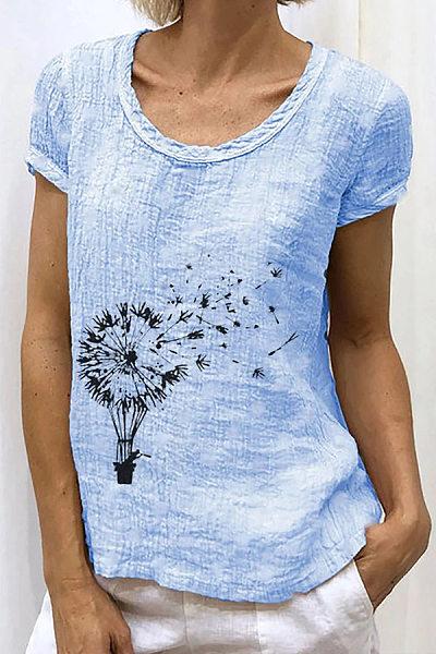 Dandelion Printed Casual Womens Top