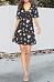 V Neck  Lace Up  Print  Short Sleeve Skater Dresses