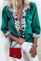 V Neck  Patchwork  Blouses