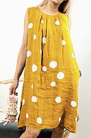 Casual Round Neck Pleated Sleeveless Polka Dot Linen Print Dress