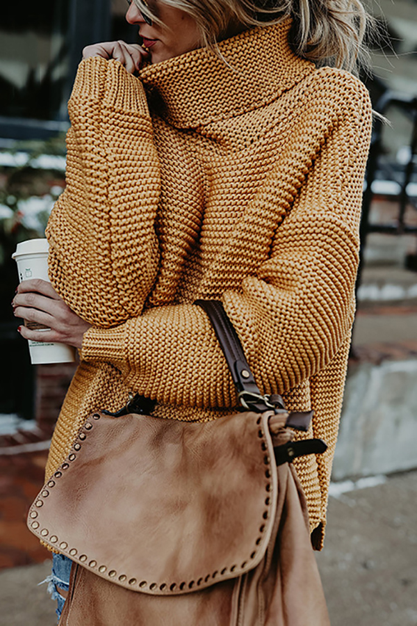 Loose Golden Turtleneck Sweater