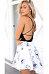 V Neck Backless Printed Skater Dresses