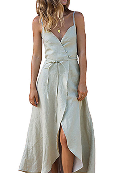Spaghetti Strap  Asymmetric Hem  Belt  Plain  Sleeveless Maxi Dresses