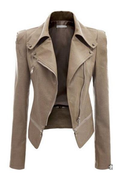 Plain Zips PU Leather Lapel Biker Jacket