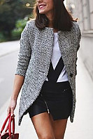 Fold Over Collar  Slit Pocket  Contrast Stitching  Houndstooth Outerwear