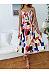 Spaghetti Strap  Belt  Print  Sleeveless Skater Dresses