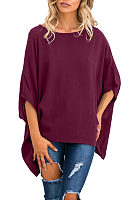 Round Neck  Asymmetric Hem  Plain  Batwing Sleeve T-Shirts