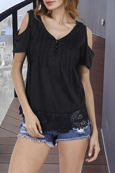 V Neck  Cutout Patchwork  Hollow Out T-Shirts