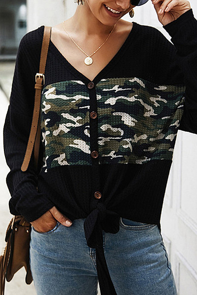 Casual Camouflage Print Knotted Knit Cardigan