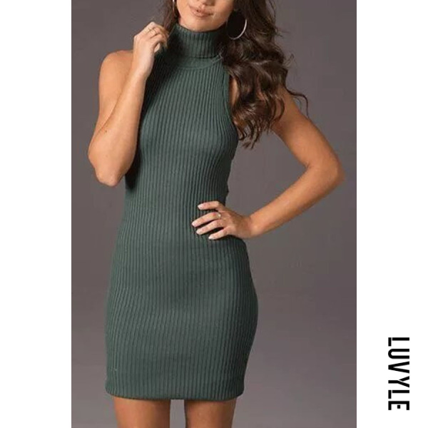 Turtle Neck Backless Sleeveless Bodycon Dresses