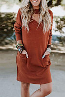 V Neck Hollow Out Long Sleeve Plain Casual Dress