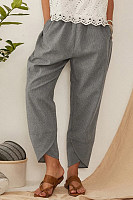 Striped Elastic Waist Pants With Pocket