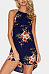 Crew Neck  Asymmetric Hem  Floral Printed  Sleeveless Casual Dresses