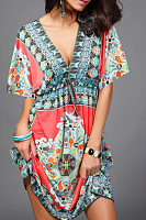 Deep V Neck  Drawstring  Printed  Batwing Sleeve  Short Sleeve Casual Dresses