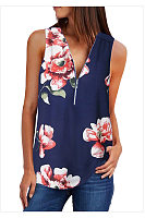 Women Floral Printed Sleeveless Blouse