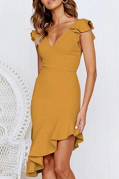 Casual Sexy Deep V   Neck Pure Color Falbala Mini Dress